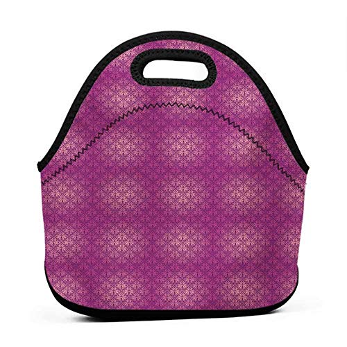 Rugged Lunchbox Victorian,Antique Style Scroll Motifs Flowers Pink Shades Classical Pattern,Magenta Peach and Purple,bag and lunch bag for girls