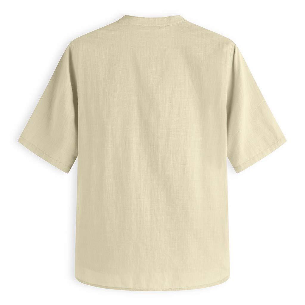 MNRIUOCII Leinenhemd Herren Kurzarm Henley Shirt Freizeithemd M/äNner Sommer Leichte Bequem Sommerhemden Casual Leinen Hemden Top Kurze /ÄRmel Hemd Freizeithemd