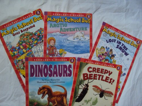 Scholastic Reader Level 2 Science: The Magic School Bus, Lost in the Snow; Arctic Adventure; Gets Recycled; Dinosaurs; Creepy Beetles (Children Book Sets : Kindergarten - Grade 2)
