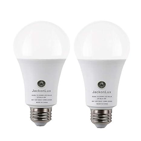 Dusk To Dawn Light Bulb Jackonlux Outdoor Smart Light Bulb A19 8w 800 Lm Ul Listed 3000k Automatic On Off Sensor Bulb For Yard Porch Patio Garage