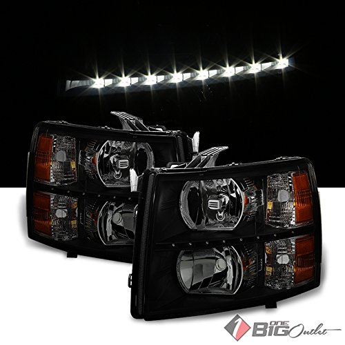 Xtune 2007-2013 Silverado, 2014 2500/3500 HD Black Smoked Headlights With LED Strip 2008 2009 2010 2011 2012