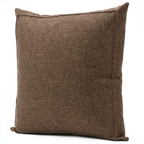 - Jepeak Burlap Linen Throw Pillow Cover Cushion Case, Farmhouse Modern Decorative Solid Square Pillow Case, Thickened Luxury for Sofa Couch Bed (18 x 18 Inches, Dark Brown)