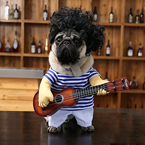 Fezrgea Pet Costume Funny Guitarist Style Dogs and Cats suit for Halloween Christmas Cosplay Party (M, Blue)