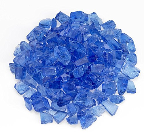 American Fireglass Light Blue Recycled Fire Pit Glass - Medium (18-28Mm), 10 lb. Bag