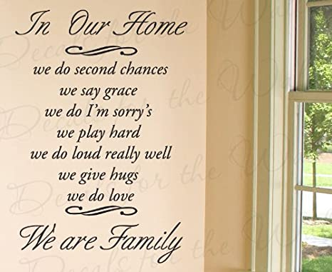 Amazon Com In Our Home We Do Second Chance Say Grace I M Sorry S Love Home Family Wall Decal Quote Decorative Vinyl Sticker Graphic Art Letters Lettering Decor Saying Decoration Home