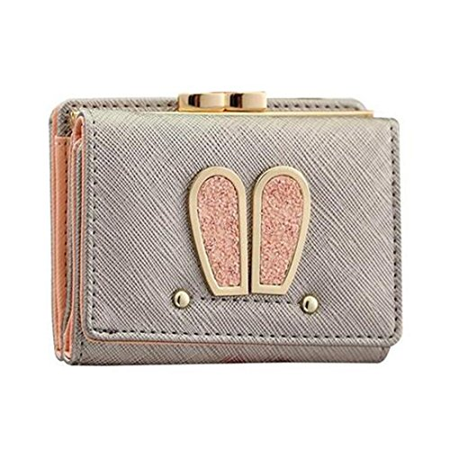 Fold Billfold (64 Women Short Wallet, Kiss-lock Cute Bunny Ear Coin Purse PU Leather Billfold Mini Handbag Credit Card Holder for Girls)