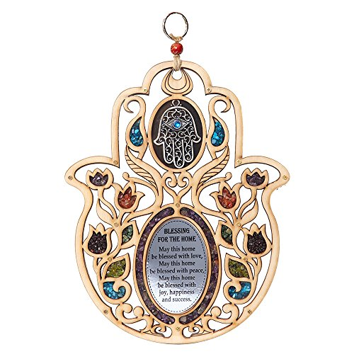 Evil Eye Stone Hand Of Fatima Wood Wall Hanging Hamsa Home Decor Ornament Blessing Protection Symbol ()