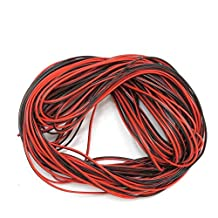 Xking 65.6ft/20M 20AWG Extension Cable Wire Cord for Led Strips Single Colour 3528 5050, 2 Pin Red/Black Hookup Wire 12V DC