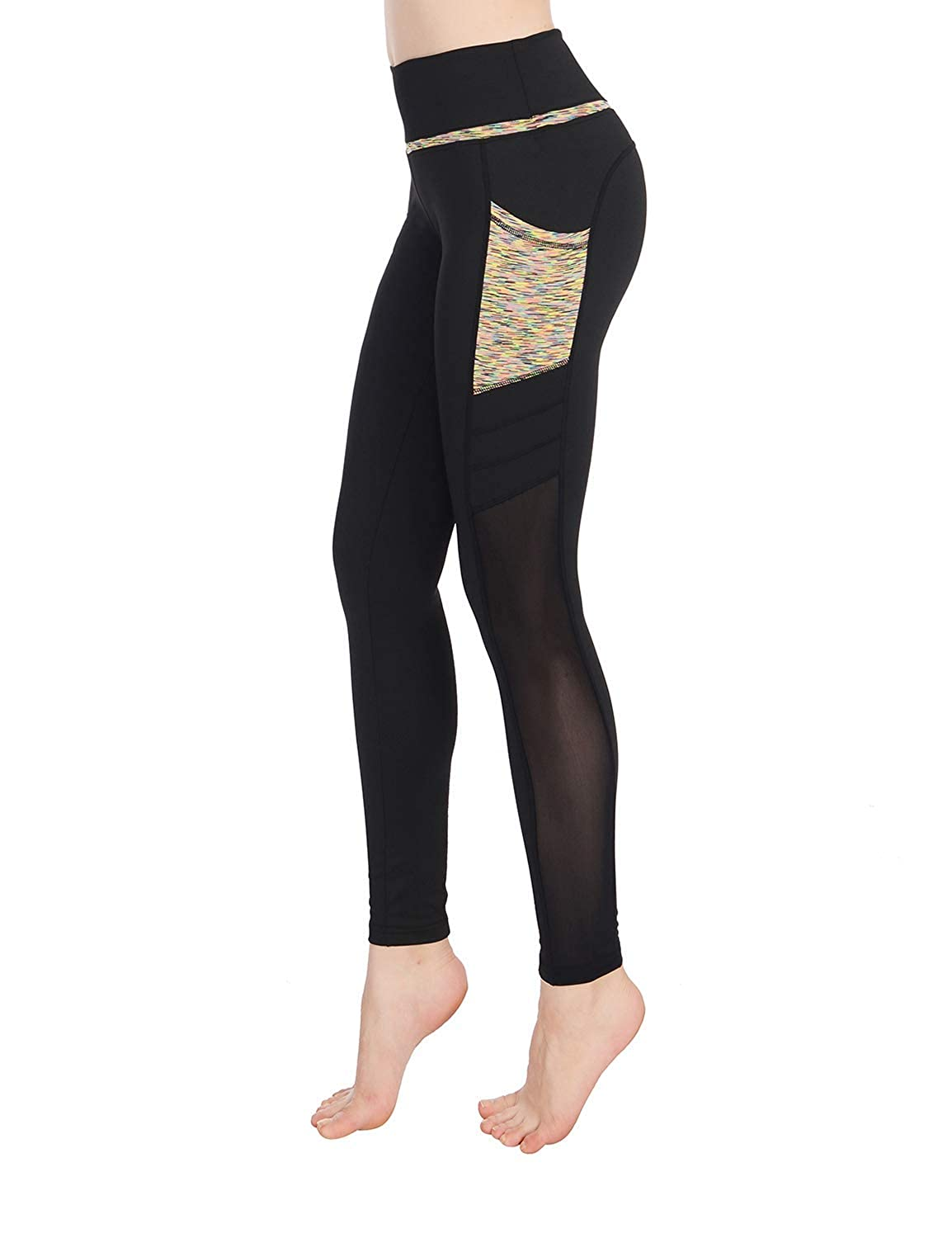 ae771e2456 Amazon.com: Sylonway Women's High Waist Yoga Pants with Pockets & Mesh  Tummy Control Workout Running Leggings for Sports Fitness Gym: Clothing