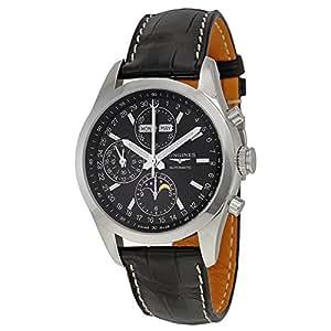 Longines Conquista clásico Automático Negro Dial Negro Cuero Mens Reloj l27984523