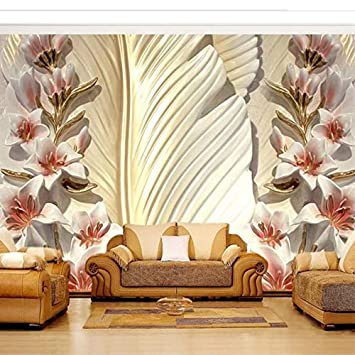 Kuamai Benutzerdefinierte 3D Wandbilder Tapete 3D Feder Blume Relief ...