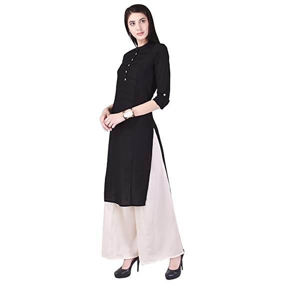 46e11ccd8f Indiwest Women's Cotton Solid Straight Kurti with Palazzo Pants ...