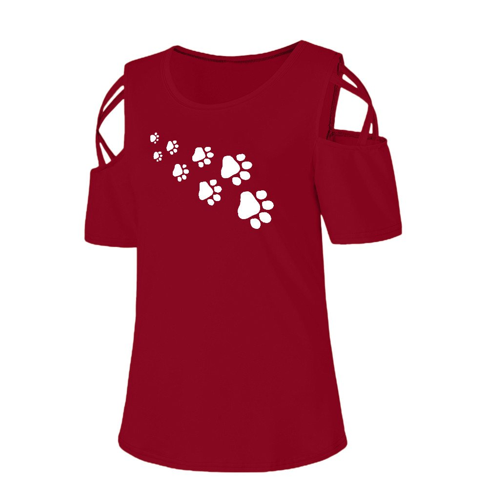 Moginp 2019 Ladies//Womens Short Sleeve T-Shirt Summer Strappy Cold Shoulder Dog Footprints Print Casual Blouse Tops