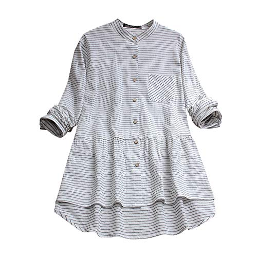 Sleeve Tops Casual Poche Chemisier Shirt Striped Women Bouton Long White 6n5F8Cwtxq