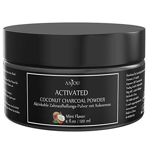 Activated Teeth Whitening Charcoal Powder Anjou 4 oz Natural Coconut Tooth Stain Remover, Non Abrasive, Vegan, Mint Flavored
