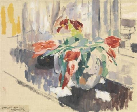 'Rik Wouters - Still Life With Tulips, 1913' Oil Painting, 24x29 Inch / 61x74 Cm ,printed On Perfect Effect Canvas ,this High Resolution Art Decorative Canvas Prints Is Perfectly Suitalbe (Movie Theater Attendant Costume)
