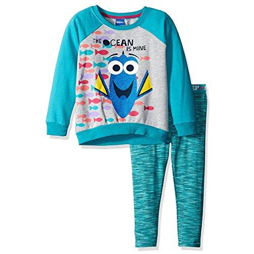 (Disney Girls' 2 Piece Finding Dory Legging Set, Space Dye Blue,)