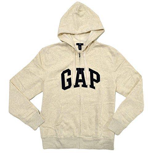 (GAP Mens Fleece Arch Logo Full Zip Hoodie (Cream, Small))