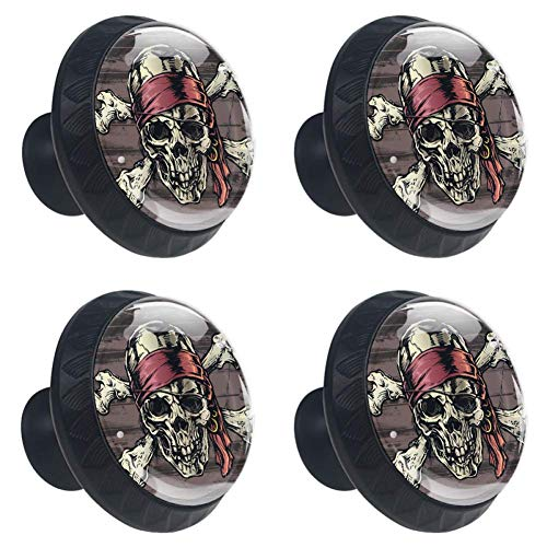 (Idealiy Pirate Skull Cabinet Dresser Drawer Knobs Glass Pull Handle for Cabinet Door Wardrobe Cupboard)