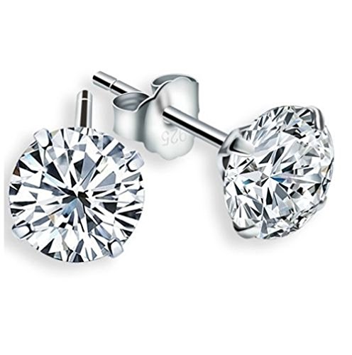 (925 Sterling Silver Crystals from Swarovski White Brilliant Cut Round Stud Earrings 6 mm for Women and Girls)
