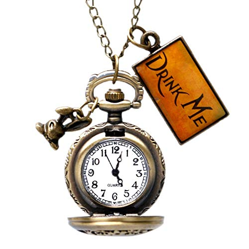 Alice in Wonderland Drink Pocket Watches, Necklace | Rabbit Flower Hollow Half Hunter Pendants