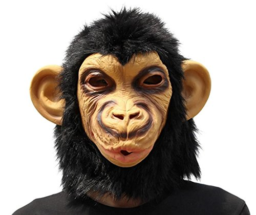 QTMY Latex Rubber Animal Open Mouth Ape Gorilla Orangutan Monkey Mask for Halloween Party Costume