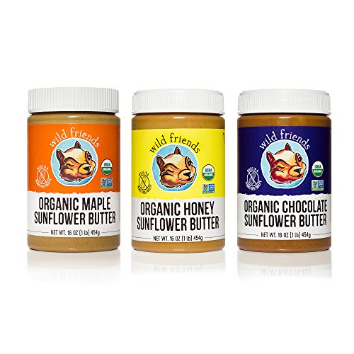 Wild Friends Foods Organic Sunflower Butter Variety Pack, Honey, Maple, Chocolate, 16oz, Pack of 3