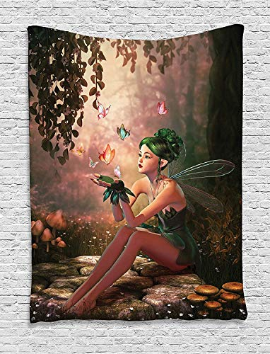 CHARMHOME Fairy Tapestry, Girl with Wings and Butterflies Digital Composition Computer Graphics Elven Creature Wall Hanging Tapestry for Bedroom Living Room Dorm Decor, 60x90 Inches