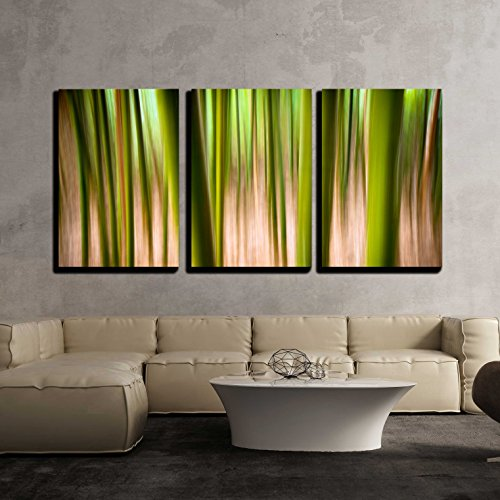 Abstract Nature Landscape Background Motion Blur Effect Bamboo Forest Texture x3 Panels