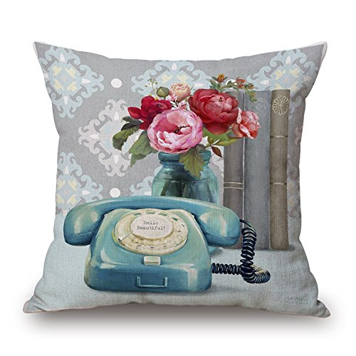 Easternproject Vintage Flower Telephone Book Pattern Square Throw Pillow Case Decorative Cushion Cover Pillowcase 18x18 Inches for Home Sofa Couch Decor