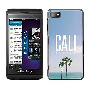 Design for Girls Plastic Cover Case FOR Blackberry Z10 California Palm Trees Summer Sky Sun OBBA