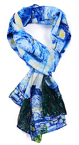 Salutto Women 100% Silk Scarf Monet Van Gogh Famous Painter Painted Scarves (Monet Van Gogh)