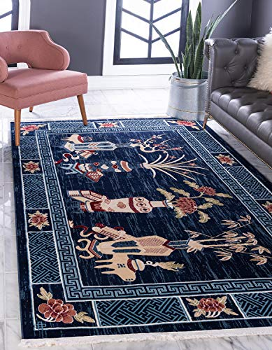 Unique Loom Gansu Collection Antique Finish Floral Chinese Pattern Navy Blue Area Rug (8' 0 x 10' 0)