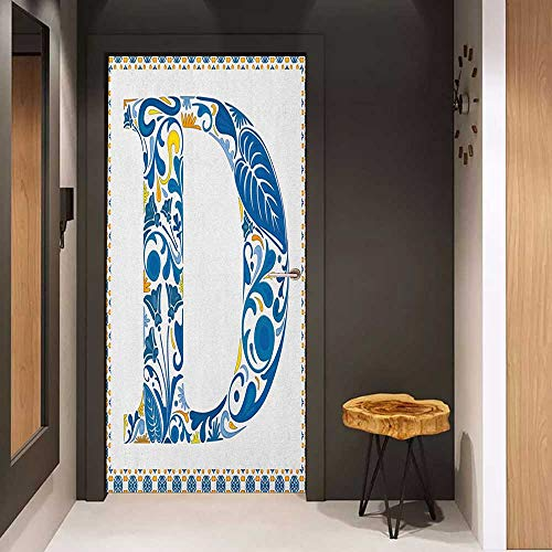 (Toilet Door Sticker Letter D Vibrant Colored Swirls and Flower Elements in Alphabet Artwork with Frame Glass Film for Home Office W35.4 x H78.7 Blue Yellow Orange)