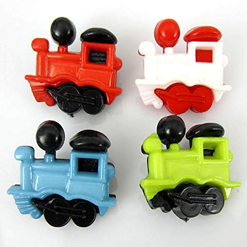 50pcs 3/4 Mixed Color Train Pattern Nylon Children Button Fit Sewing Scrapbook