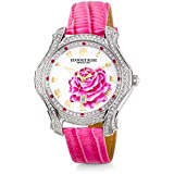 """JEANNIE ROSE  """"A Dozen Roses"""" Watches   40MM Women's Analog Watch   Light Pink on Whiteface A01"""