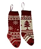 FINERUS Classic Red White Christmas Tree Snowflake Knit Stockings, 18 Inch Bag Set of 2