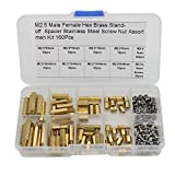 160 Pcs M2.5 Brass Hex Spacer Standoffs Stainless Steel Screw Nut Assortment Kit,Male Female