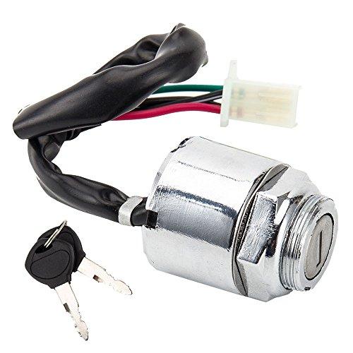 warmcare Universal de la motocicleta Interruptor de encendido 2llaves 4alambre Interruptor de arranque del motor para...