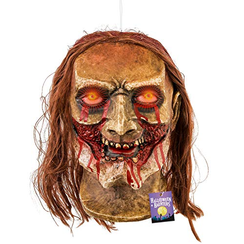 (Halloween Haunters Life-Size Hanging Animated Decapitated Zombie Ghoul Head with Moving Jaw Mouth That Screams Prop Decoration - Rubber Latex Flashing Eyes - Table Top Haunted House Graveyard)