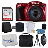 Canon PowerShot SX420 IS 20 MP Digital Camera (Red) with 42x Optical Zoom and Built-In Wi-Fi + 64GB SD Card + Deluxe Camera Case + Memory Card Wallet + Cleaning Kit + Hand Grip + Full Accessory Bundle