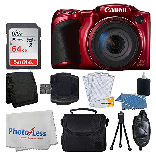 (Canon PowerShot SX420 IS 20 MP Digital Camera (Red) with 42x Optical Zoom and Built-In Wi-Fi + 64GB SD Card + Deluxe Camera Case + Memory Card Wallet + Cleaning Kit + Hand Grip + Full Accessory Bundle)