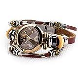 Fashion Women's Lady's Wrist Bracelet Leather Watch with Retro Black Dial Gift