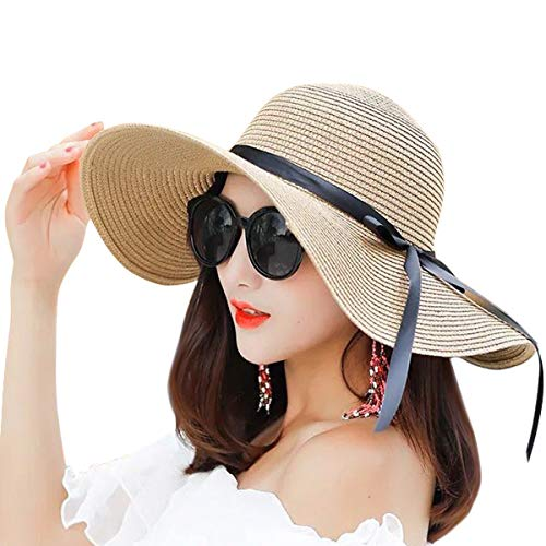 IL Caldo Womens Big Brim Sun Hat Floppy Fold Bowknot Straw Hat Summer Beach Cap