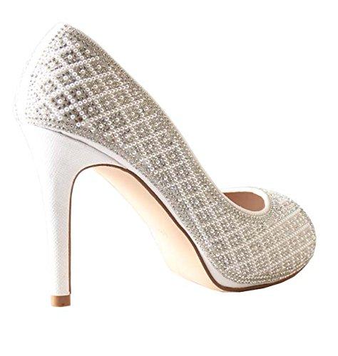 De Blossom Collection Women Angle Pearl Rhinestone Peep Toe High Heel Prom Dress Pump Shoes Angle-59 White 6JN31AiZ1B