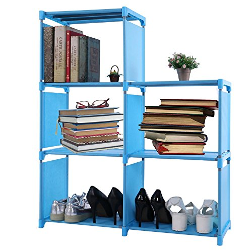 4-tier Storage Cube Closet Organizer Book Shelf 12-cube Cabinet Bookcase (Blue - 5 Cube)