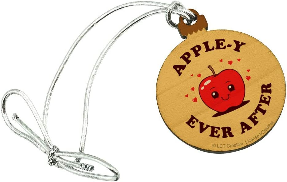 GRAPHICS & MORE Apple-y Happily Ever After Funny Humor Mini Small Tiny Wood Christmas Tree Holiday Ornament