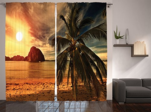 Havana Living Room Set (Ocean Decor Curtains By Ambesonne, Havana Beach Sunny Tropics Mountains And Rocks, Living Room Bedroom Decor, 2 Panel Set, 108W X 84L)