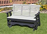 5FT-BRIGHT WHITE-POLY LUMBER ROLL BACK Porch GLIDER Heavy Duty EVERLASTING PolyTuf HDPE - MADE IN USA - AMISH CRAFTED