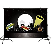 Allenjoy 7x5ft photography backdrop superhero bat birthday party hero super city building night baby shower boy children background prop photo studio photobooth
